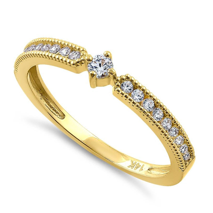 Solid 14K Yellow Gold Modern Round 0.30 Ct. Engagement Diamond Ring