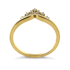Solid 14K Yellow Gold Crown 0.12 ct. Diamond Ring
