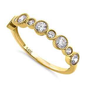 Solid 14K Yellow Gold Alternating Pattern 0.79 ct. Diamond Ring