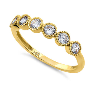 Solid 14K Yellow Gold Six Round 0.75 ct. Diamond Ring