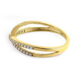Solid 14K Yellow Gold Overlapping 0.21 ct. Diamond Ring