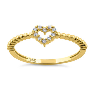 Solid 14K Yellow Gold Heart Diamond Ring
