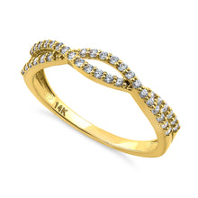 Load image into Gallery viewer, Solid 14K Yellow Gold Overlapping Twist 0.37 ct. Diamond Ring
