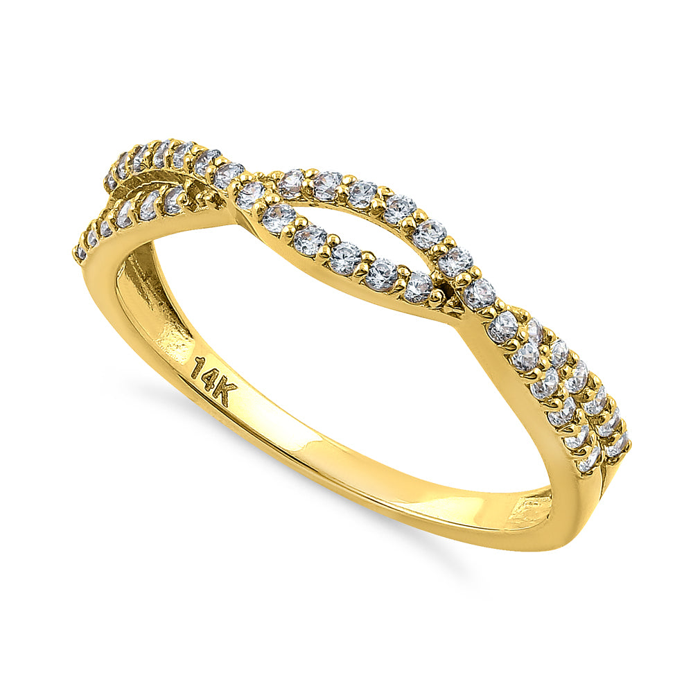 Solid 14K Yellow Gold Overlapping Twist 0.37 ct. Diamond Ring
