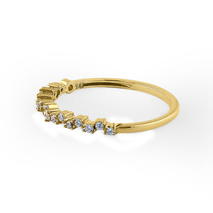 Solid 14K Yellow Gold Crooked 0.20 ct. Diamond Ring