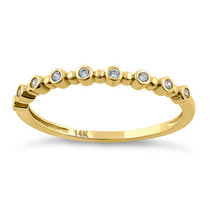Solid 14K Yellow Gold Single Row Round 0.11 ct. Diamond Ring