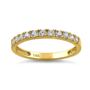 Solid 14K Yellow Gold Classic Single Row 0.45 ct. Diamond Ring