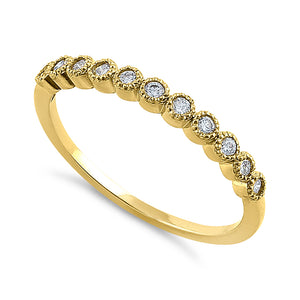Solid 14K Yellow Gold Classic Row Diamond Ring