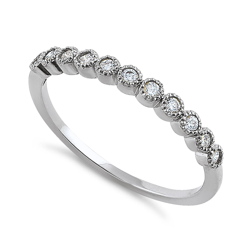 Solid 14K White Gold Classic Row Diamond Ring