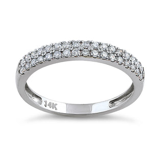 Solid 14K White Gold Double Row 0.42 ct. Diamond Ring