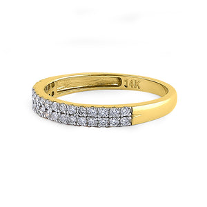 Solid 14K Yellow Gold Double Row 0.42 ct. Diamond Ring