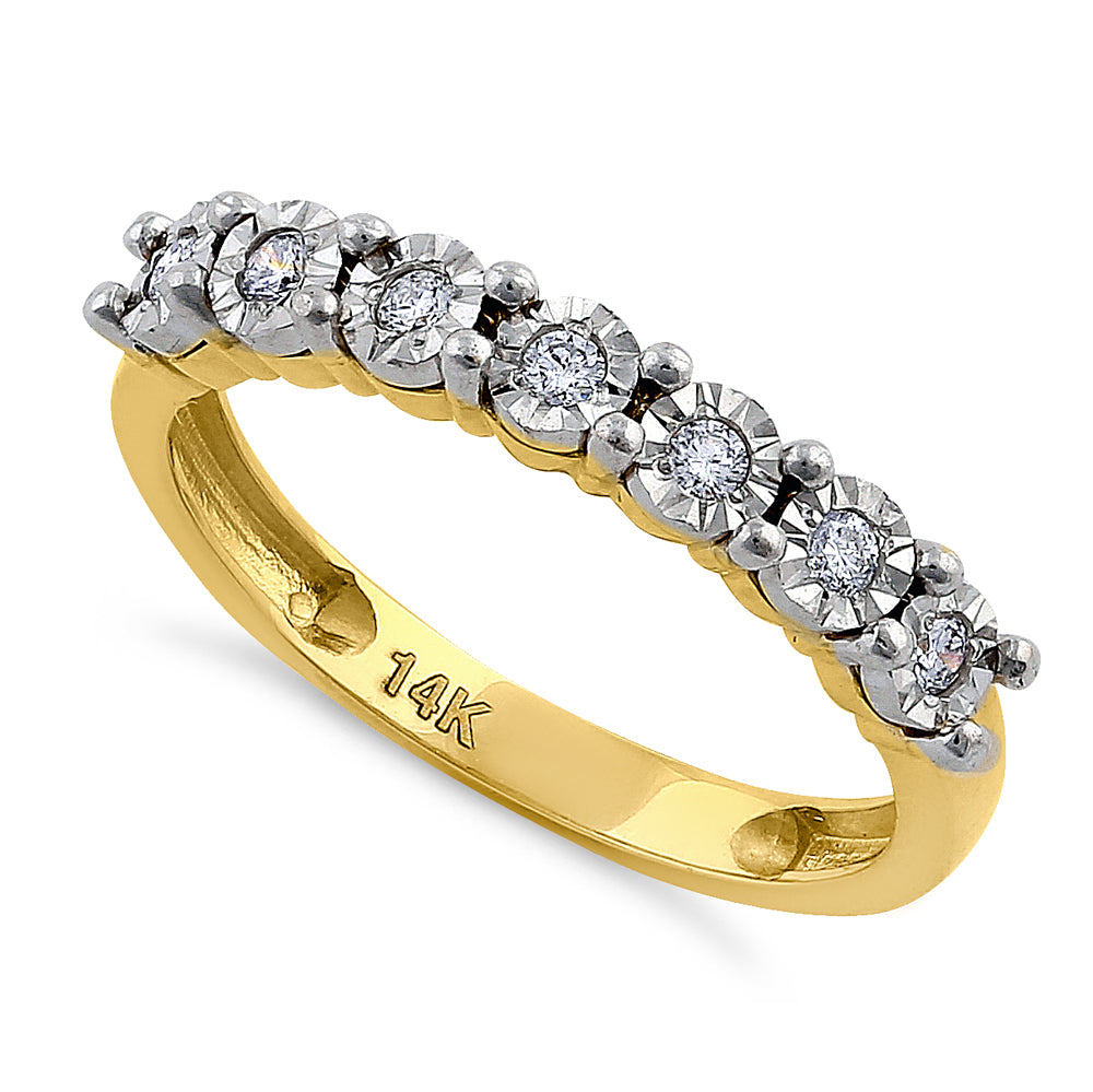 Solid 14K Yellow Gold Regal Round Diamond Ring
