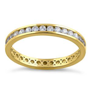 Solid 14K Yellow Gold Stackable Eternity Round Diamond Band