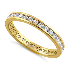 Load image into Gallery viewer, Solid 14K Yellow Gold Stackable Eternity Round Diamond Band