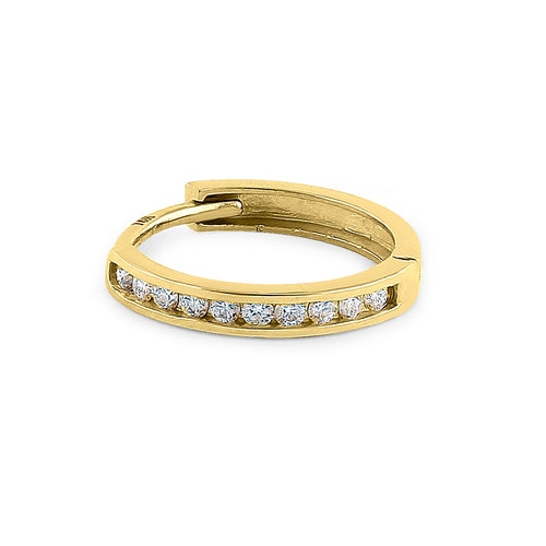 Solid 14K Yellow Gold Small Hoop Diamond Earrings