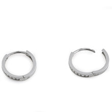 Load image into Gallery viewer, Solid 14K White Gold Diamond Small Hoop 0.24 ct. Diamond Earrings
