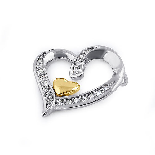 Solid 14K White & Yellow Gold Accent Double Heart Diamond Pendant
