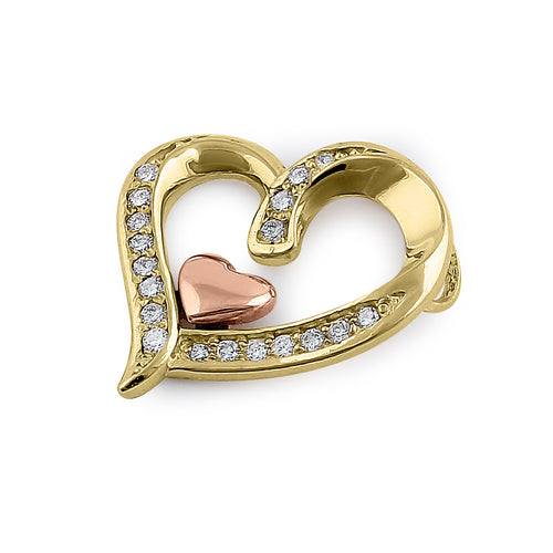 Solid 14K Yellow & Rose Gold Accent Double Heart Diamond Pendant