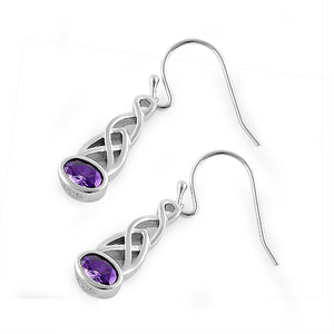 Sterling Silver Oval Amethyst CZ Earrings