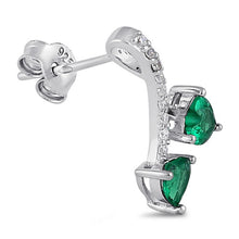 Load image into Gallery viewer, Sterling Silver Cherry Hearts Emerald CZ Earrings