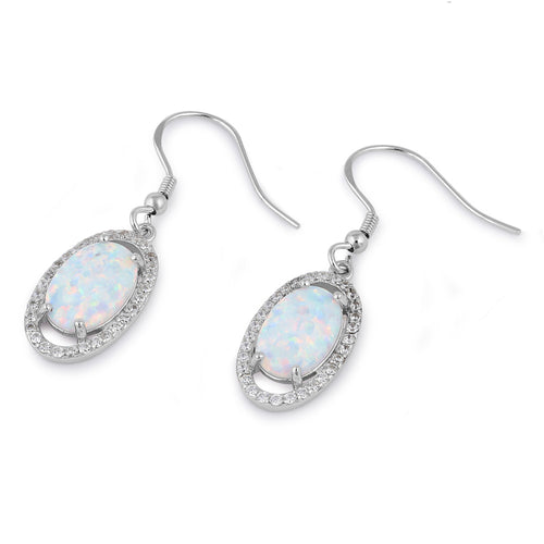 Sterling Silver White Lab Opal & Clear CZ Oval Hook Earrings