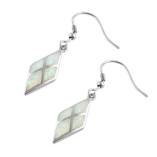Sterling Silver White Lab Opal Diamond Earrings