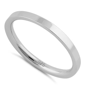 Sterling Silver 2mm Flat Wedding Band Ring