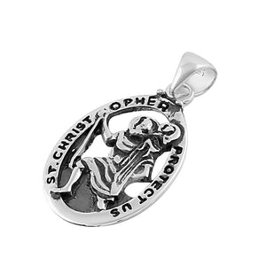 Sterling Silver St. Christopher Oval Pendant