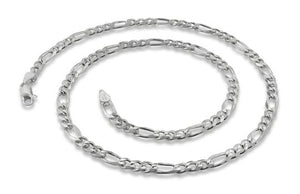 Sterling Silver Figaro Chain Necklace 5.1mm