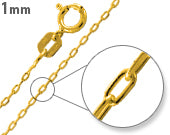 Gold Plated Sterling Silver Forz D/C Chain 0.95MM