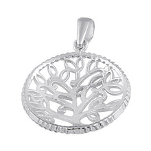 Load image into Gallery viewer, Sterling Silver Circle Tree of Life Pendant