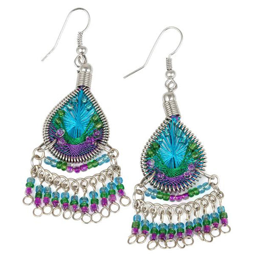 Stainless Steel Peruvian Turquoise, Green, Purple Silk Thread Beaded Dangle Earrings