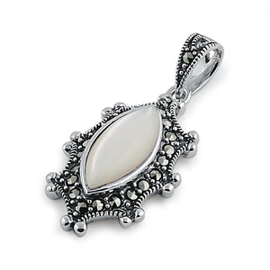 Sterling Silver Mother of Pearl Oval Marcasite Pendant