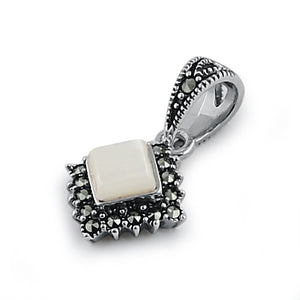 Sterling Silver Mother of Pearl Square Marcasite Pendant