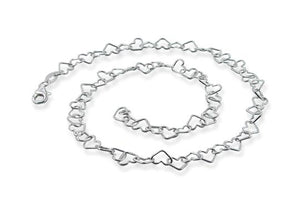 Sterling Silver Heart Chain Necklace 3mm