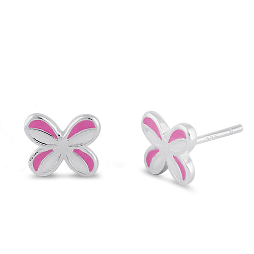 Sterling Silver Butterfly with White and Pink Enamel Earrings