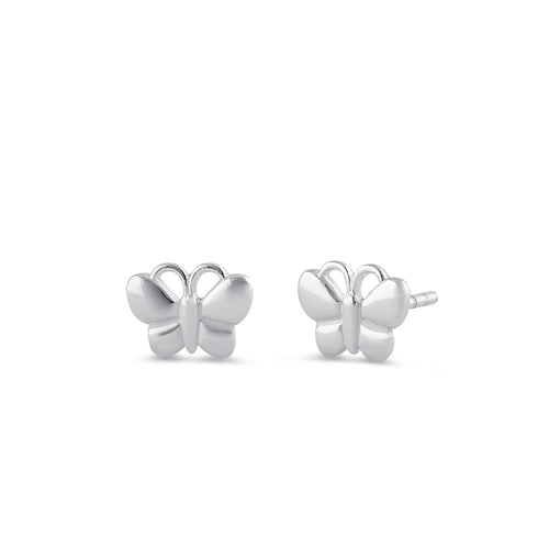 Sterling Silver Bubbly Butterfly Stud Earrings