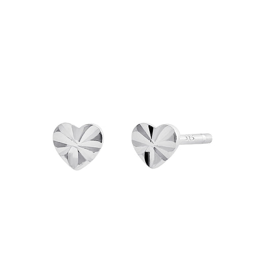 Sterling Silver Diamond Cut Tiny Heart Stud Earrings