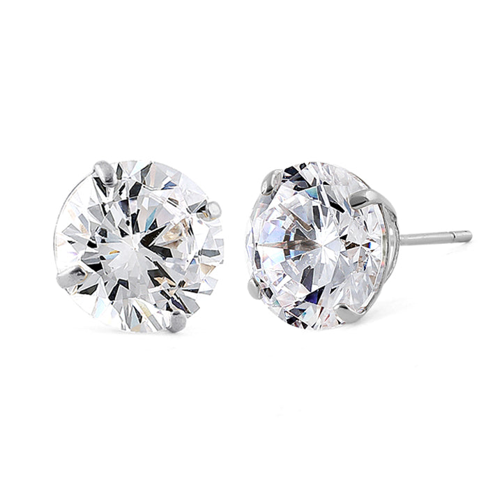 2.56 ct Solid 14K White Gold 7mm Round Cut Clear CZ Earrings