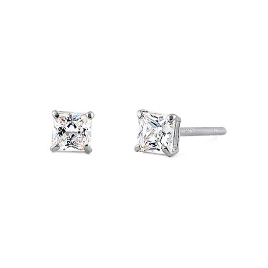 .2 ct Solid 14K White Gold 2.5mm Princess Cut Clear CZ Earrings