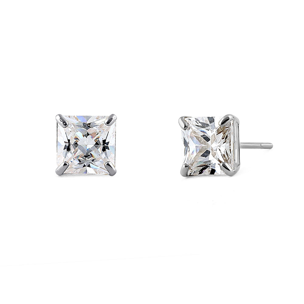 2.48 ct Solid 14K White Gold 6mm Princess Cut Clear CZ Earrings