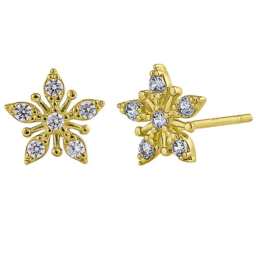 Solid 14K Yellow Gold Star Clear Round CZ Earrings