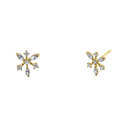 Solid 14K Yellow Gold Dawn Star CZ Earrings