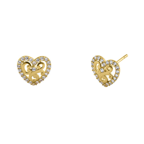Solid 14K Yellow Gold Valiant Heart CZ Earrings