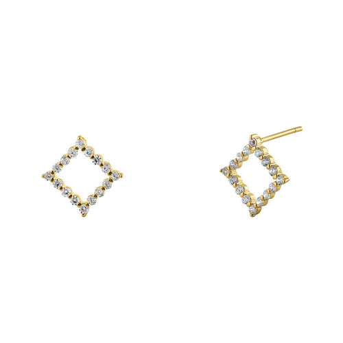 Solid 14K Yellow Gold Diamond-Shaped CZ Earrings