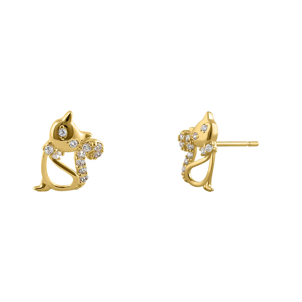 Solid 14K Yellow Gold Precious Cat CZ Earrings