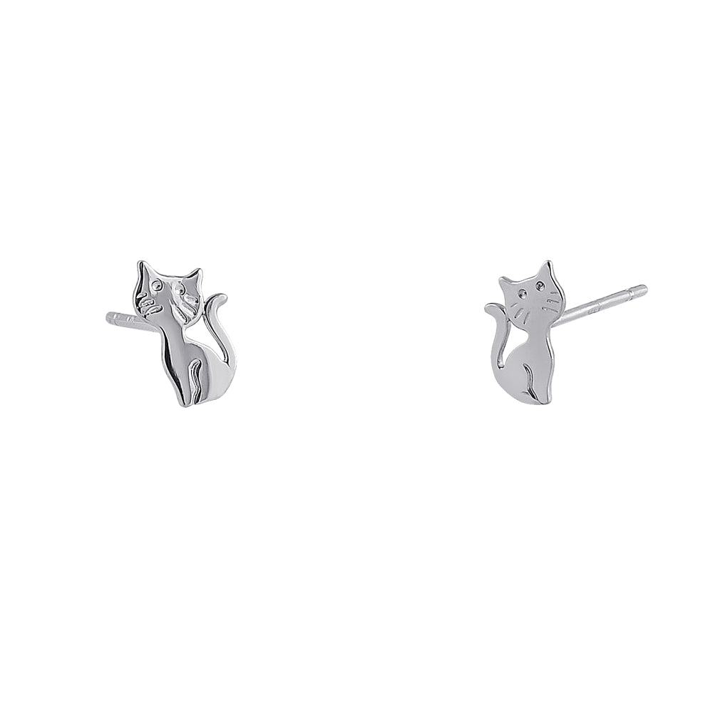 Solid 14K White Gold Cat with Whiskers Earrings
