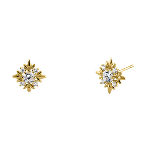 Solid 14K Yellow Gold Round Star CZ Stud Earrings
