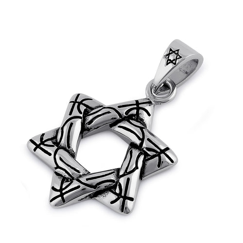 Stainless Steel Wire Pattern Star of David Pendant