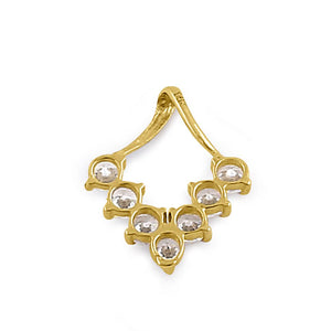 Solid 14K Yellow Gold Trendy V CZ Pendant